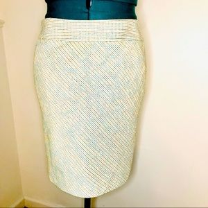 White & Silver Multicolored Tweed Pencil Skirt